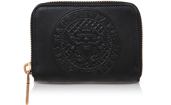 Signature Black Leather Coin Purse - Balmain