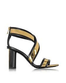 Aska Black and Gold Metallic Leather Heel Sandal - Balmain