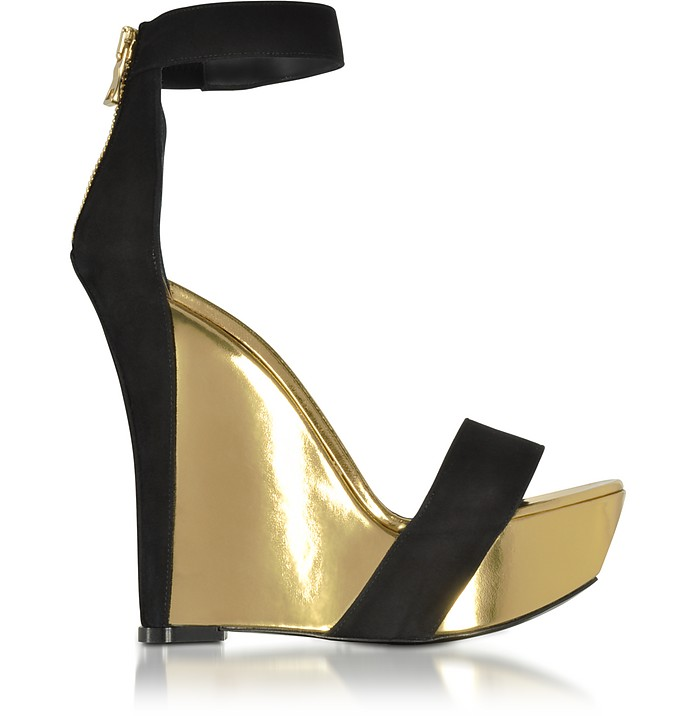 0ec50b283ad Samara Black Suede and Gold Metallic Leather Wedge Sandal