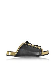Tao Black and Gold Metallic Leather Flat Slide - Balmain