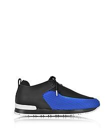 Doda - Sneakers Basses Femme en Cuir Noir et Néoprène Bleu Électrique - Balmain