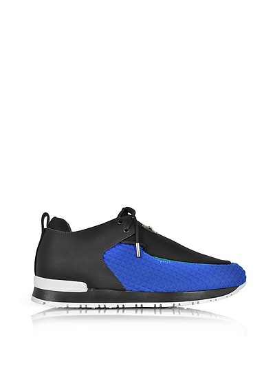Doda Black Leather and Blue Quilted Neoprene Sneaker - Balmain