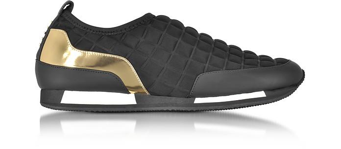 Maya Black Quilted Neoprene and Gold Metallic Leather Sneaker - Balmain