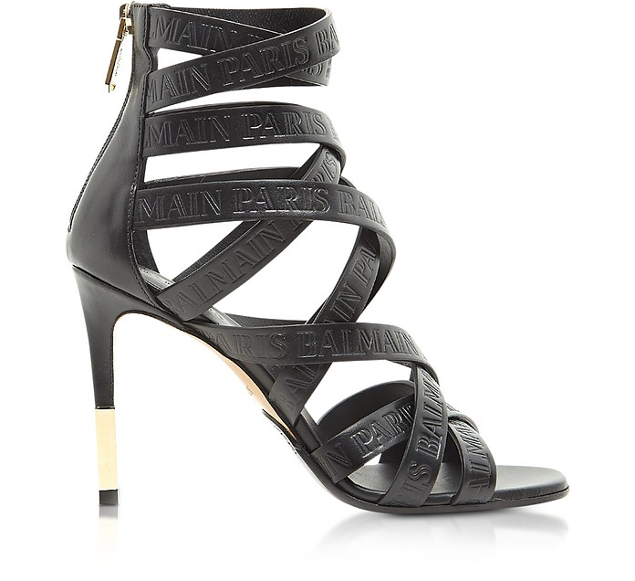 Charlotte Black Embossed Leather High Heel Sandals - Balmain