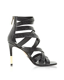 Charlotte Black Embossed Leather High Heel Sandals - Balmain