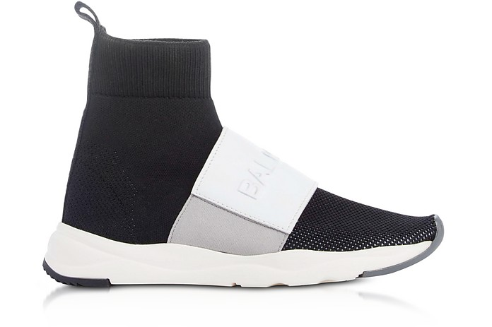Black & White Nylon and Leather Cameron Running Women's Sneakers - Balmain