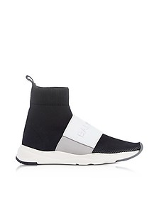 Black & White Nylon and Leather Cameron Running Women's Snekers - Balmain