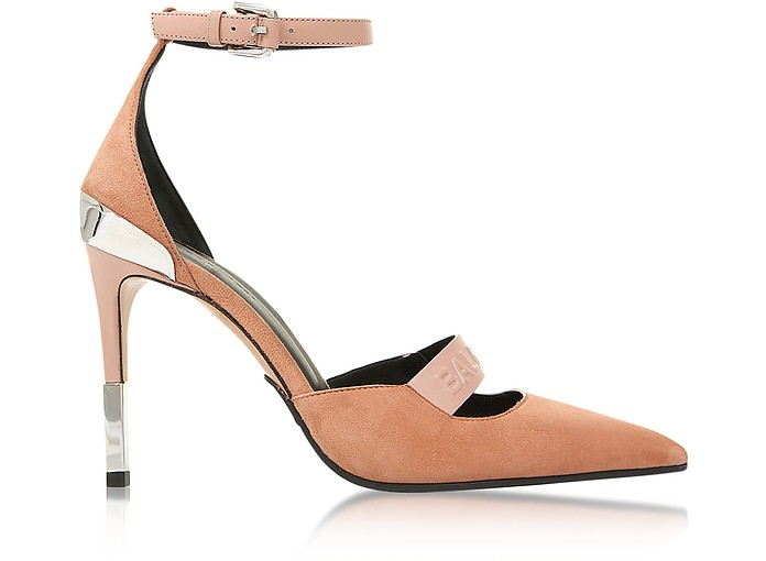 Powder Pink Suede Ankle Wrap Chance Pumps - Balmain