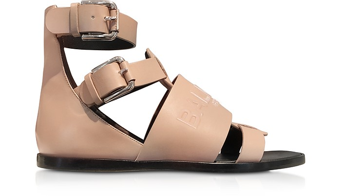 Powder Pink Leather Clothilde Flat Sandals - Balmain