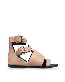 Powder Pink Leather Clothilde Flat Sandals - Balmain