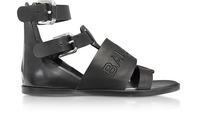 Black Leather Clothilde Flat Sandals - Balmain