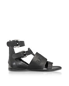 Black Leather Clothilde Flat Sandals - Balmain