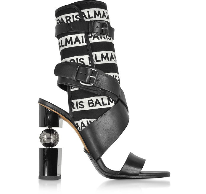 Jaclyn Black and White Signature Open Toe Boots - Balmain