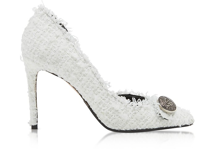 White Tweed 95MM Julie Pump - Balmain