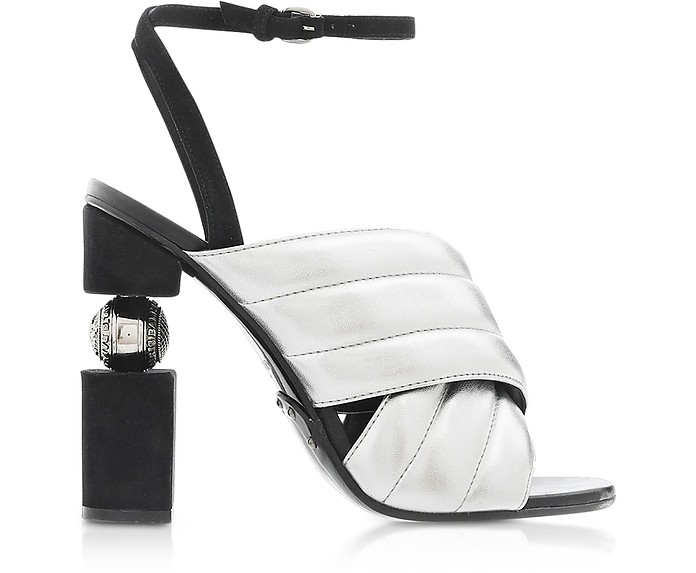 Jana Silver Laminated High Heel Sandals - Balmain