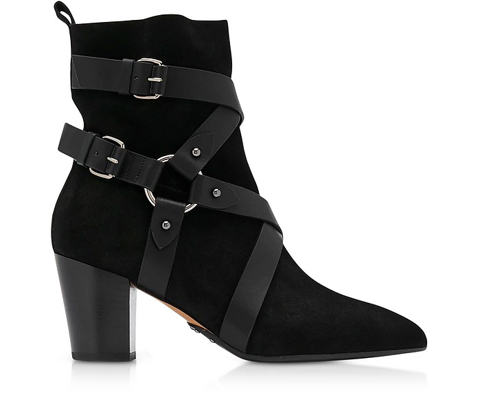 Black Suede Harness Jilly Boots - Balmain