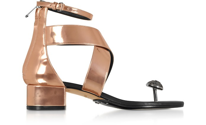 Rose Gold Laminated Leather Juliet Flat Sandals - Balmain