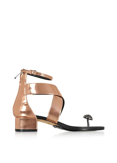 Rose Gold Laminated Leather Juliet Flat Sandals - Balmain