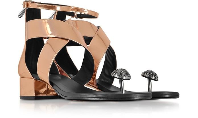 8f50da57f19657 Rose Gold Laminated Leather Juliet Flat Sandals - Balmain. C 619.50  C 1