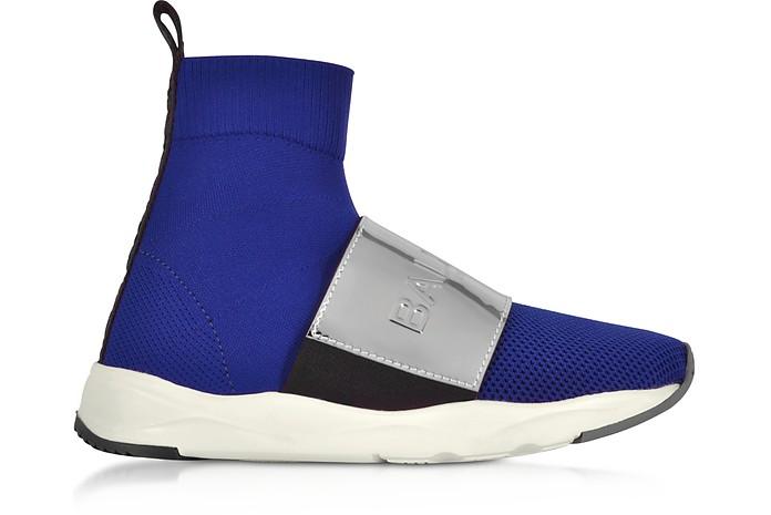 Cobalt Blue & Silver Cameron Knit Sock Sneakers - Balmain