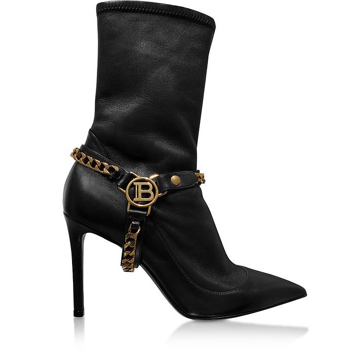 Black Leather High Heel Boots - Balmain
