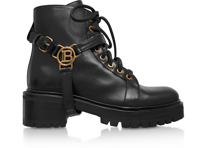 Balmain Boots Black Leather Ranger Boots W/Medallion