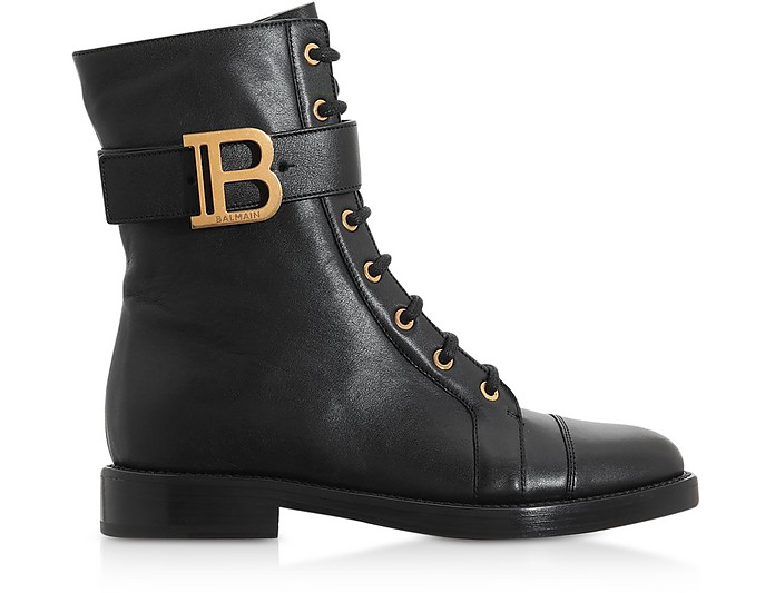Black Leather Ranger Ankle Boots - Balmain