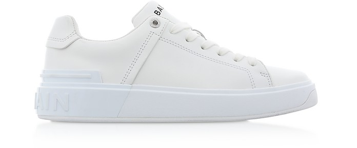 White Leather Lace up Women's Sneakers - Balmain