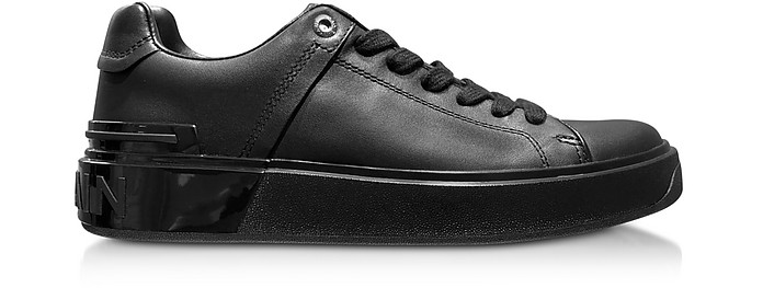 Black Leather Lace up Women's Sneakers - Balmain