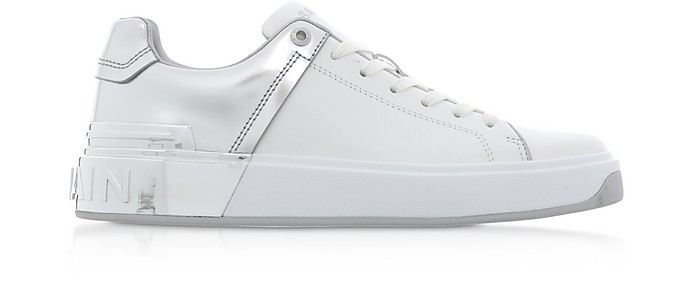 White & Silver Leather Lace up Women's Sneakers - Balmain