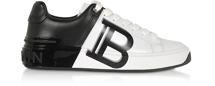 White & Black Leather Lace up Women's Sneakers - Balmain