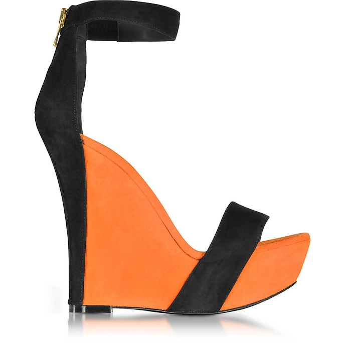 Samara Orange and Black Suede Wedge Sandals - Balmain