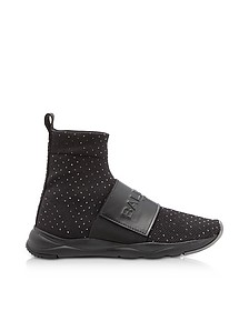 Cameron Black Studded Nylon and Leather Sock Sneakers - Balmain