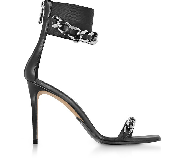Black Leather Duo Chain Sandals - Balmain