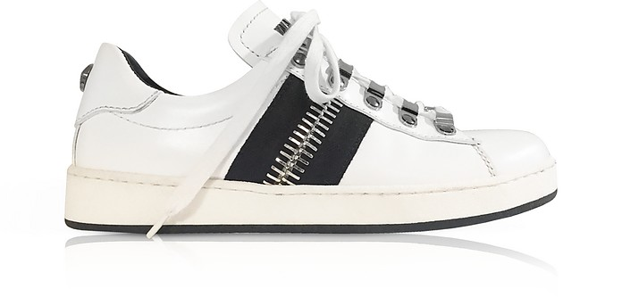 White Calfskin Lace-Up Low-Rise Sneaker.