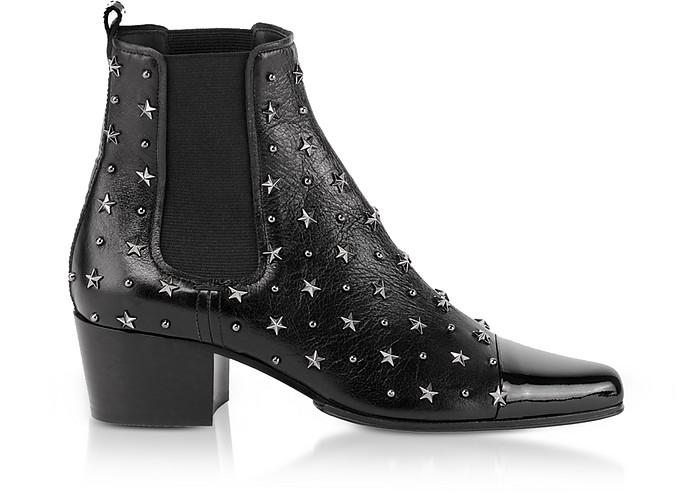 Black Studded Patent Leather Arthemisia Etoiles Boots - Balmain