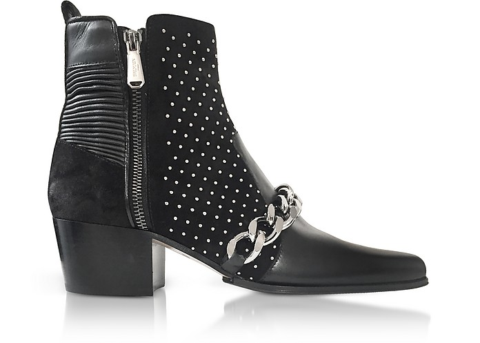 Black Leather Ella Studs Boots - Balmain