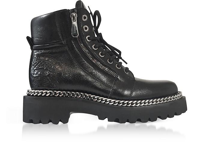 Black Leather Army Boots - Balmain