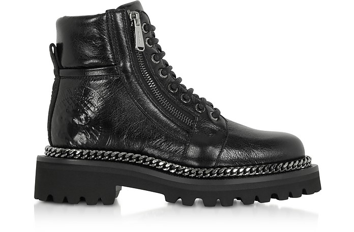 Black Leather Army Boots - Balmain
