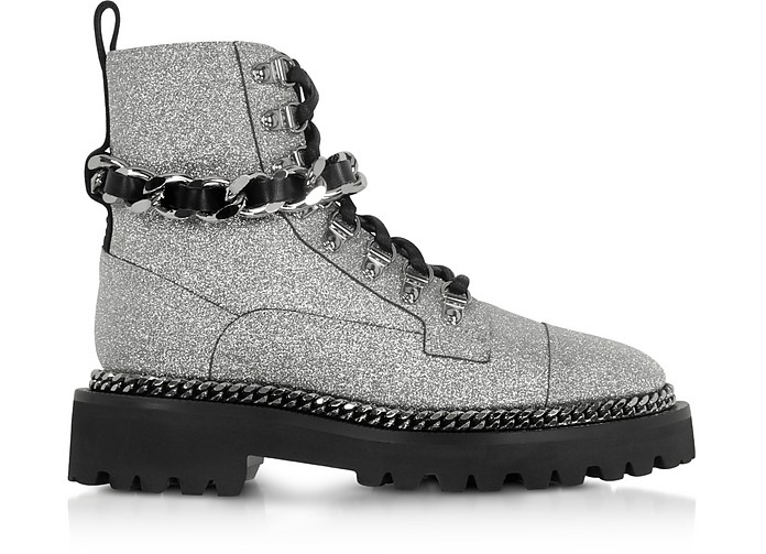 Chain and Glitter Leather Army Boots - Balmain
