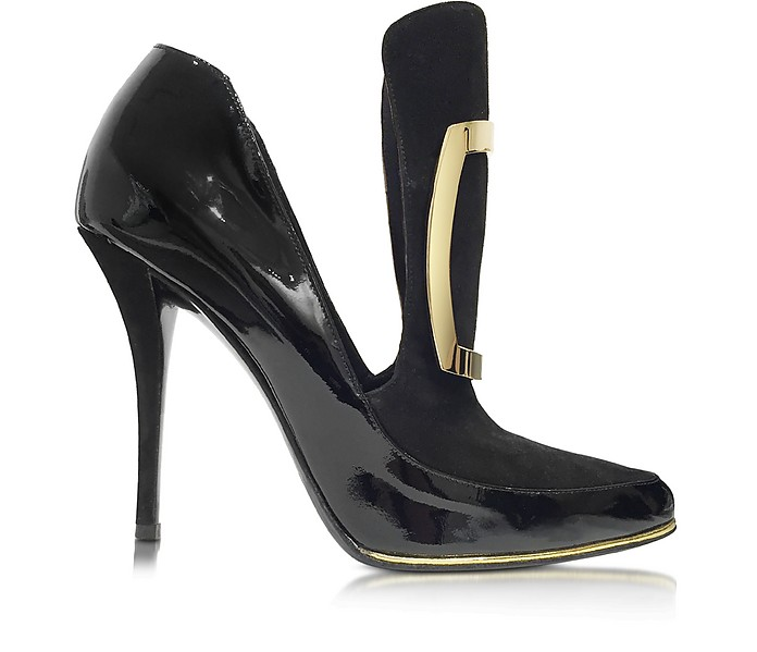 Desiree Black Patent Leather and Suede Pump - Balmain