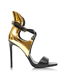 Acacia Gold Laminated Leather High Heel Sandals - Balmain