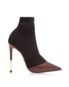 Aurore Burgundy Point-toe Honeycomb-knit Ankle Boots  - Balmain