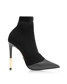 Aurore Black Point-toe Honeycomb-knit Ankle Boots - Balmain