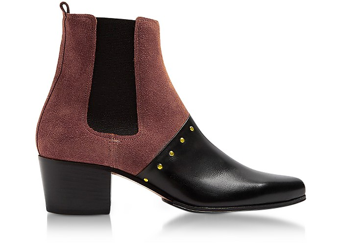 Artemisia Black Leather and Burgundy Suede Boots - Balmain