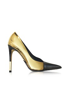 Agnes Gold Laminated Leather Pump - Balmain