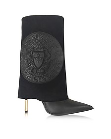 Babette Black Leather and Suede High Heel Boots - Balmain