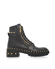 Army Black Leather Combat Boots w/Golden Rivets - Balmain