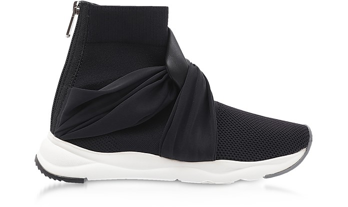 Black Fabric and Leather Knot-knit Cameron Running Women's Sneakers - Balmain