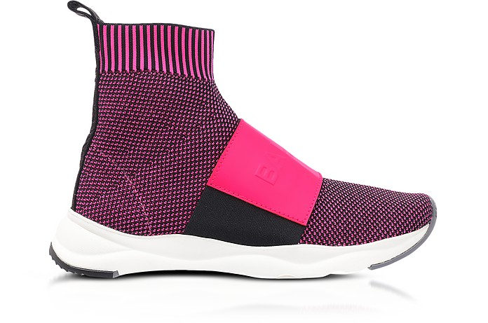 Neon Fuchsia Knit Ribbon Fabric and Leather Cameron Running Women's Sneakers - Balmain